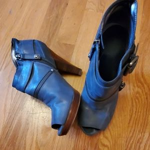 Guess Blue Leather Peep Toe Ankle Boots